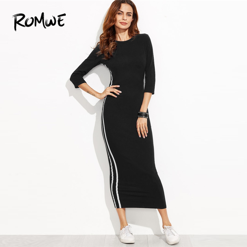 cd309f1e65446 ROMWE Black Striped Side Seam Fitted Tshirt Dress Women Clothes Autumn  Casual 3/4 Sleeve