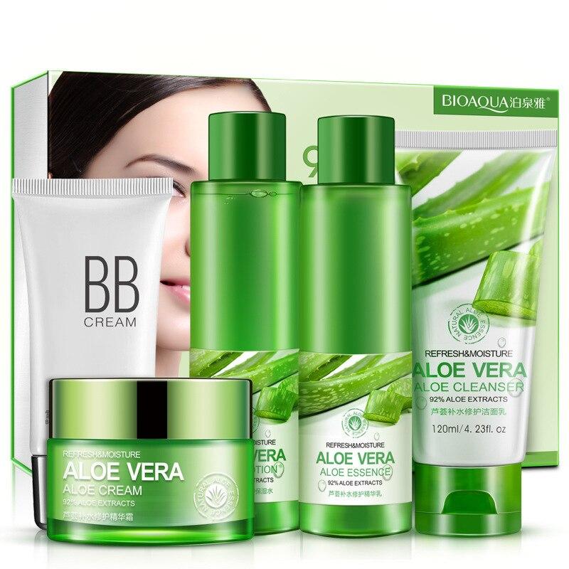 BIOAQUA Aloe Vera Beauty Care Skin Whitening Repairing, Moisturizing , Cleansing Pores Anti Acne Skin Care Set 2