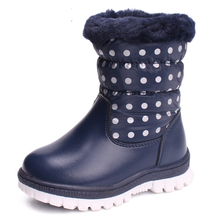 2017 nuevos cabritos Botas de nieve Niños Niñas invierno Botas niños impermeable lluvia antideslizante Botas bebé caliente Zapatos Botte enfant fille