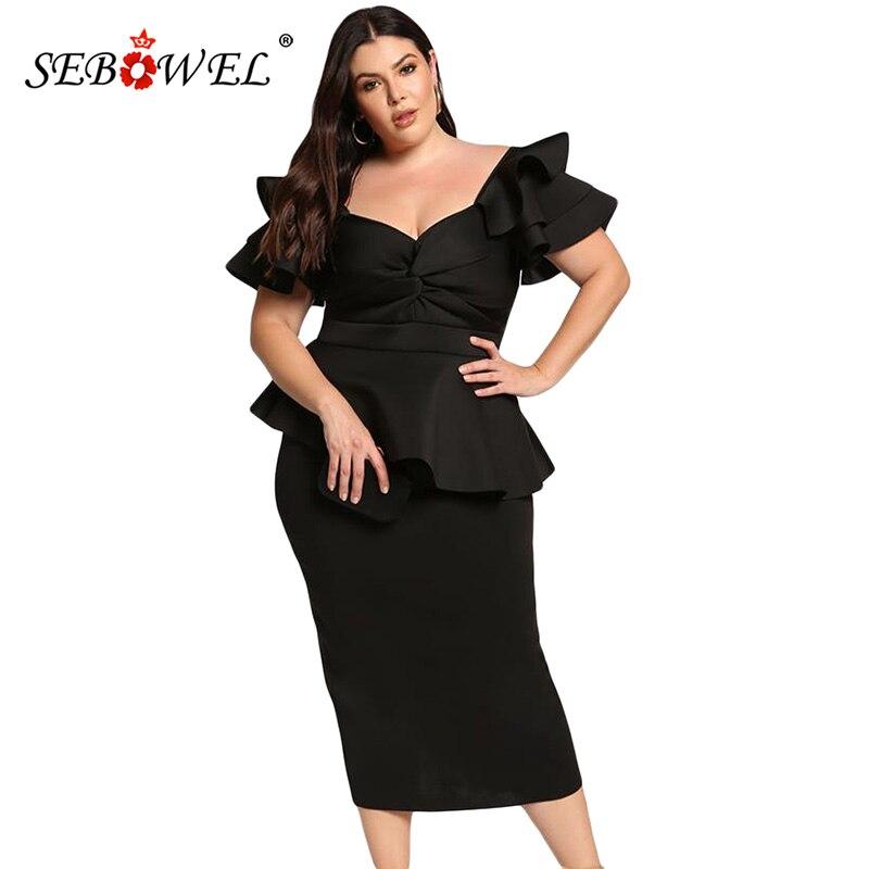 SEBOWEL Plus size Ruffle Short Sleeve Party Peplum Dress Women Elegant Bodycon Formal Large Size Work Office Midi Dresses 5XL