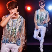 Original men vest personalized singer dance stage street star style sleeveless Fringed sequin crystal drill clothing