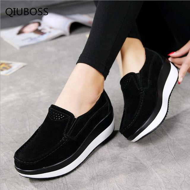4194163889f8e QIUBOSS 2018 Flat Platform Ladies Elegant Suede Leather Moccasins Shoes  Woman Slip On Moccasin Women s blue Casual Shoes Q01