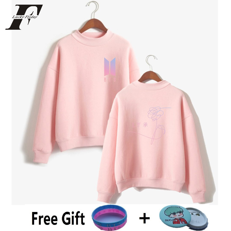 LUCKYFRIDAYF 2017 BTS New Song DNA Sweatshirt Women Bangtan Boys New Album Love Yourself Capless Sweatshirt K-pop Female Clothes
