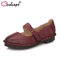 Coolcept Vintage Women Real Leather Flats Shoes Round Toe Handmade High Quality Shoes Daily Shoes Women
