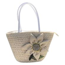 Women Tote Beach Bag Tote Causal Fashion Bohemian Beach Straw Hand Woven Large Single Shoulder Bags Sunflower Flower Handbag Bag girls fashion national trend embroidery shoulder hand bags women single faced flower embroidered one shoulder bag large handbag