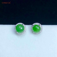Certified Natural Hetian Jade Jasper Inlaid 925 Sterling Silver Handmade Lucky Jade Earrings Green High Quality Wonderful Gifts цена 2017