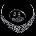 Wedding Jewelry Sets For Women Rhodium plated with Cubic zircon 3pcs sets ( necklace + bracelet + earrings ) free shipment