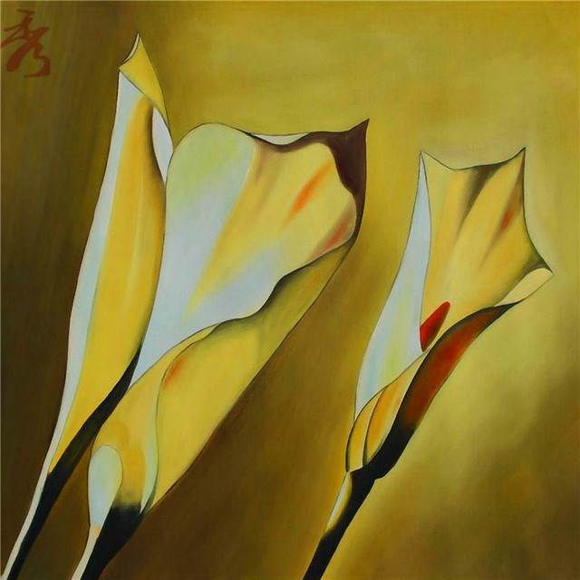 Abstract Simple Line Yellow Flowers Canvas Painting Home Children\'s ...
