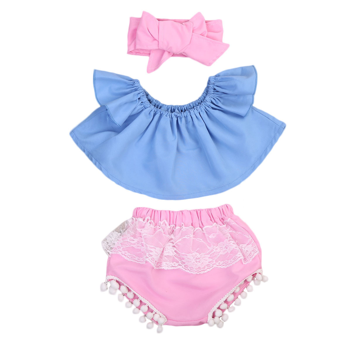 3PCS Toddler Infant Baby Girl Off Shoulder Loose Crop Tops +Lace Tassel Short Pants Outfit Summer Cotton Clothing Set Two Piece summer casual denim newborn toddler baby girl clothing kids off shoulder crop tops shorts outfit clothes set