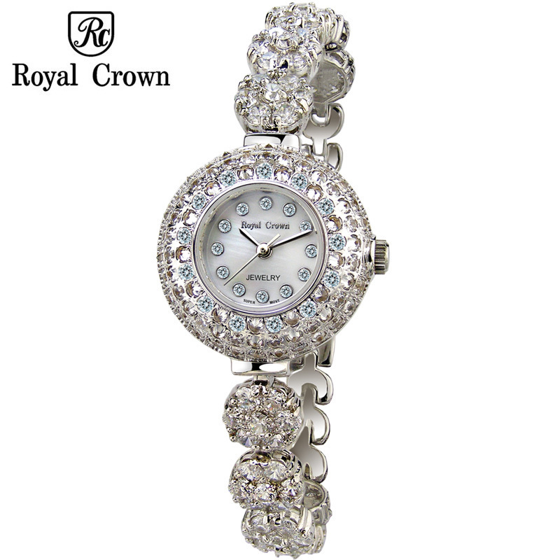 все цены на Royal Crown Lady Women's Watch Japan Quartz Jewelry Hours Fine Fashion Setting Crystal Bracelet Luxury Rhinestones Girl Gift онлайн