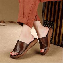 Original Design Handmade Genuine Leather Women Slippers Vintage Thick Heels Casual Simple Women Sandals WR1608-18