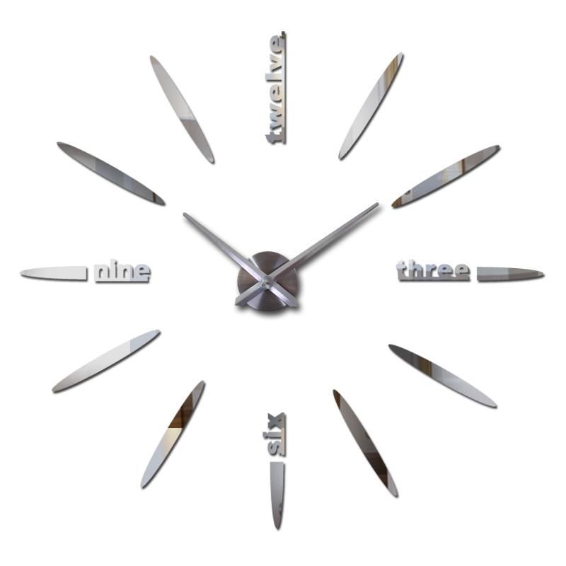 2019 yeni satış 3d diyar divar saatları horloge saat Akrilik güzgü etiketləri real Qonaq otağı Kvars Avropa divar stikerləri