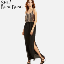 2e97267d78c SheBlingBling Women Sequin Embroidery Top Double Shoulder Strap Chiffon  Cami Dress Summer Fashion Slit Side Maxi
