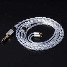 NICEHCK Cable mixto de cobre y cristal, individual, plateado, 3,5/2,5/4,4mm, MMCX/2 pines o TFZ KZAS10/ZS10 CCAC16/C10 NICEHCK NX7/M6/F3