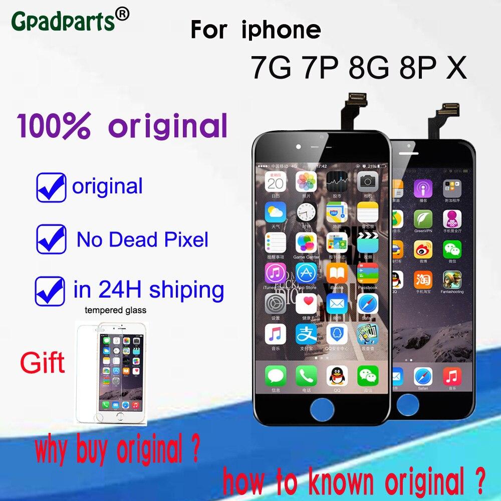 100% LCD D'origine Pour iPhone X 7 7 P 8 8 plus lcd écran avec écran tactile digitizer affichage DHL Livraison gratuite