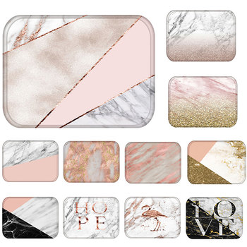 Doormat Kitchen Carpet Anti-Slip Waterproof Nordic Style Marble Map Polyester Rubber Bottom Bathroom Floor Dustproof Mats 48224 image