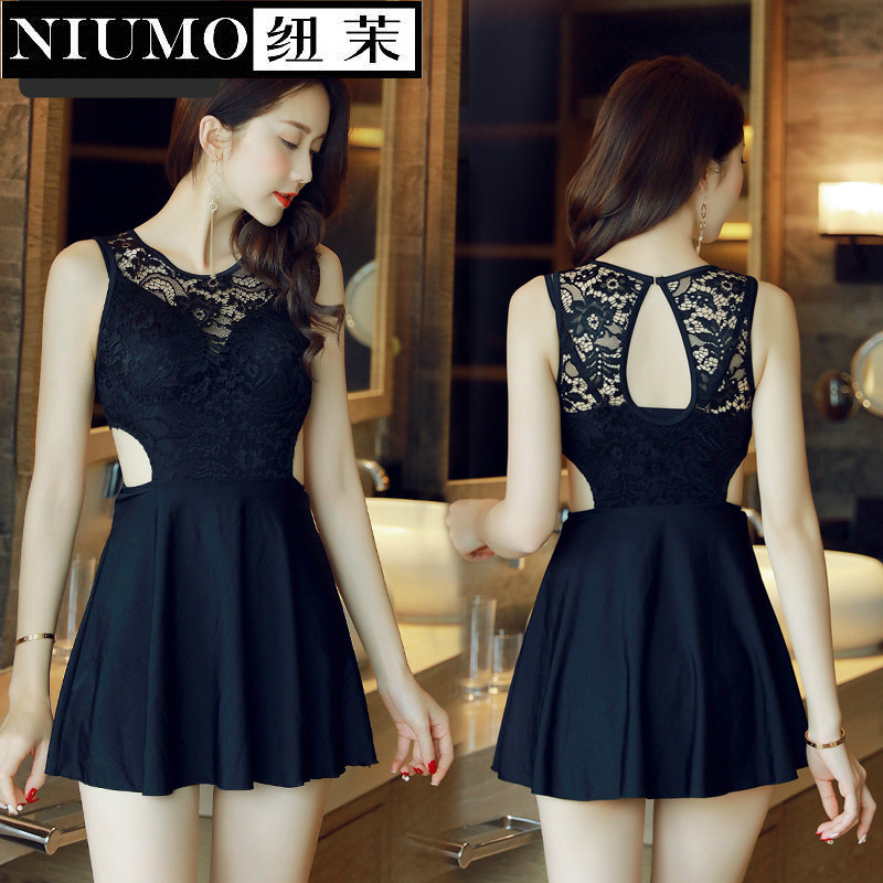 NIUMO New Swimwear woman Small chest Gather one-piece swimsuit Skirt type black Lace Spa bathing suit Beach swim niumo new one piece swimsuit woman skirt type small chest gather hot springs student swimsuit beach swim swimwear