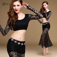 2017 Newset High Quality Belly Dance Indian Dance Leotard Costume Lace Long Skirt Suit Black Red Rose Red and Olive Green