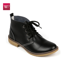 Vivident Martin Boots Genuine Leather Women Oxford Shoes Lace Up Casual Outdoor Dress Fashion Winter Zapatos Mujer Plus Size