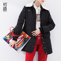 Toyouth New Design Black Parkas Thick Women Medium Style Detachable Two Pieces Winter Cotton Coats Zipper Coat Lady