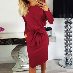 2020 Autumn Midi Party Dress Women Loose Plus Size Dress Female Sexy Casual Knee Length Long Sleeve Dress Ladies With Blet