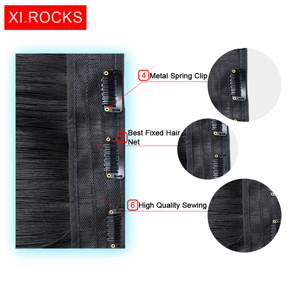 WJZ12070 1p Xi Rocks Synthetic Long Straight Hair On Hairpins False Extension Clip wig Natural Ombre Black Light Brown wigs in Synthetic Clip in One Piece from Hair Extensions Wigs