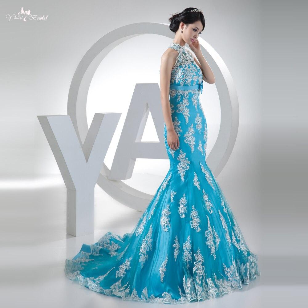 RSW333 robe de mariée en dentelle bleu clair et blanc