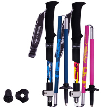 Outdoor Portable Carbon 5 Section Cane Short Fiber Lock Folding Rod Walking Trekking Hiking Climbing Poles Alpenstock Stick