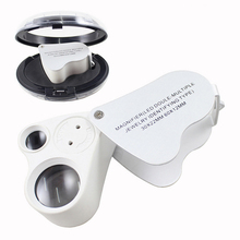 30X 60X Double Lens Crafts Appreciation Pocket Magnifier with 2 LED Lights, Antique Collection Jewelry Handheld
