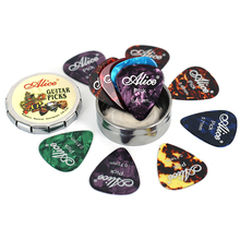 цены 12 Pieces guitar picks plectrum with 1 round metal box Case acoustic electric musical instrument guitar pick random color Picks