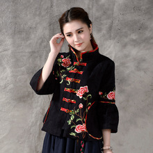 Vintage Autumn National Wind Style Chinese Plate Buttons Embroidery Women Coat Cotton Linen Clothing Ethnic Style
