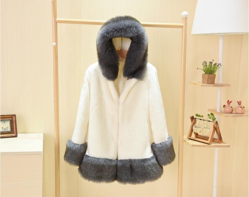 Imitation À 2018 Capuchon Mode Veste Blanc De Col Fourrure Tempérament Chaud Renard Manteau noir Femmes Vison Nouveau AHqW5fnxq