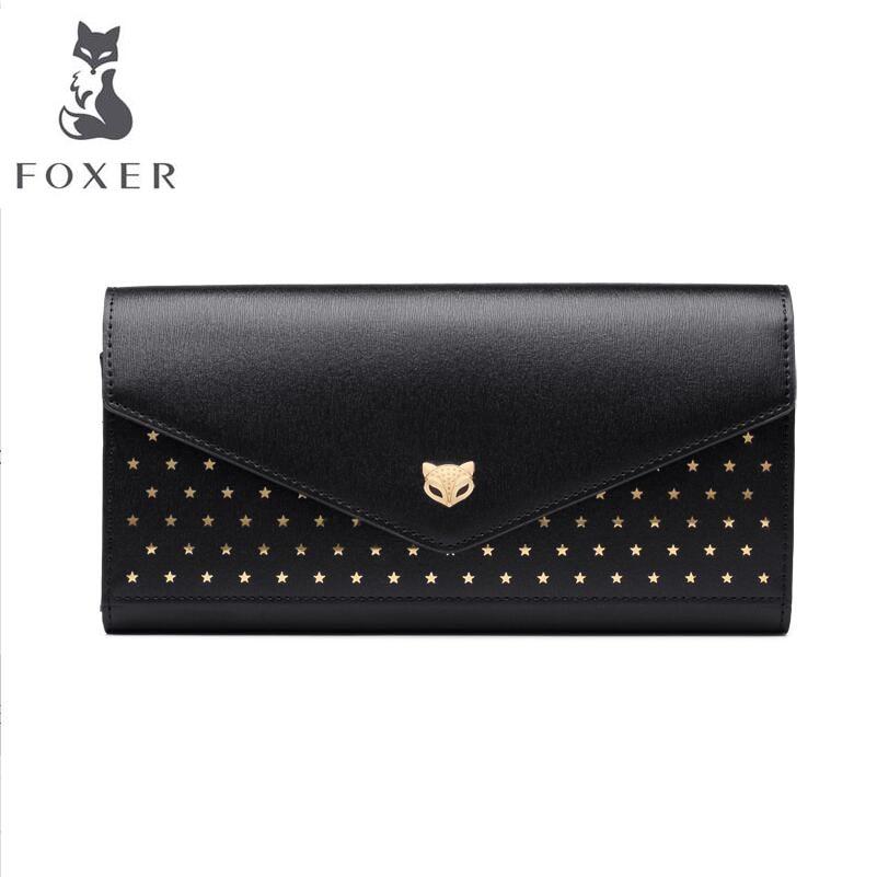 FOXER 2018 New women leather wallets new women long wallet fashion Multi-card bit Buckle leather wallets purse women clutch bags