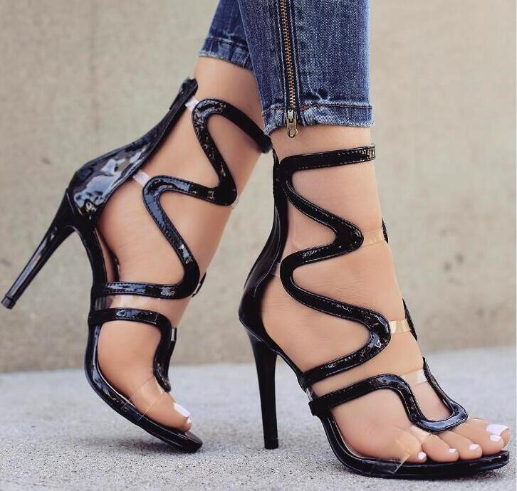 Clear Straps Patchwork Women Black/Nude Patent Leather Sandals Sexy Open Toe Ladies Cut Out High Heels Female Club Fashion Shoes цена