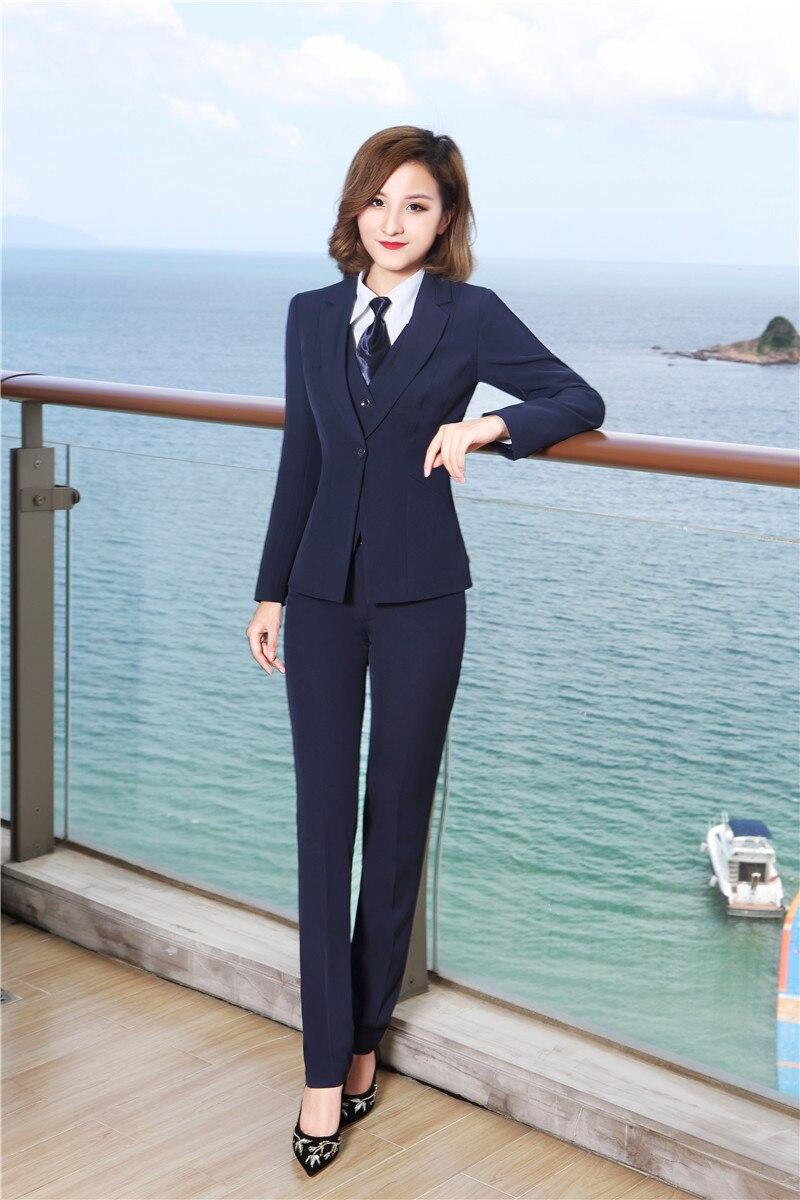 Automne Dark Pantalon 3 Avec Costumes Et black Vestes Hiver Marine Pièces Pour Bleu Élégant Blue Pantsuits Blazers Dames Gilet rfrvax