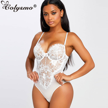 Cloysmo White Black Lace Bodysuit Women 2019 Summer Sleeveless Mesh Stitching Sexy Bodysuit Hollow Out Casual Rompers Neon Green white lace up design sleeveless bodysuit swimwears