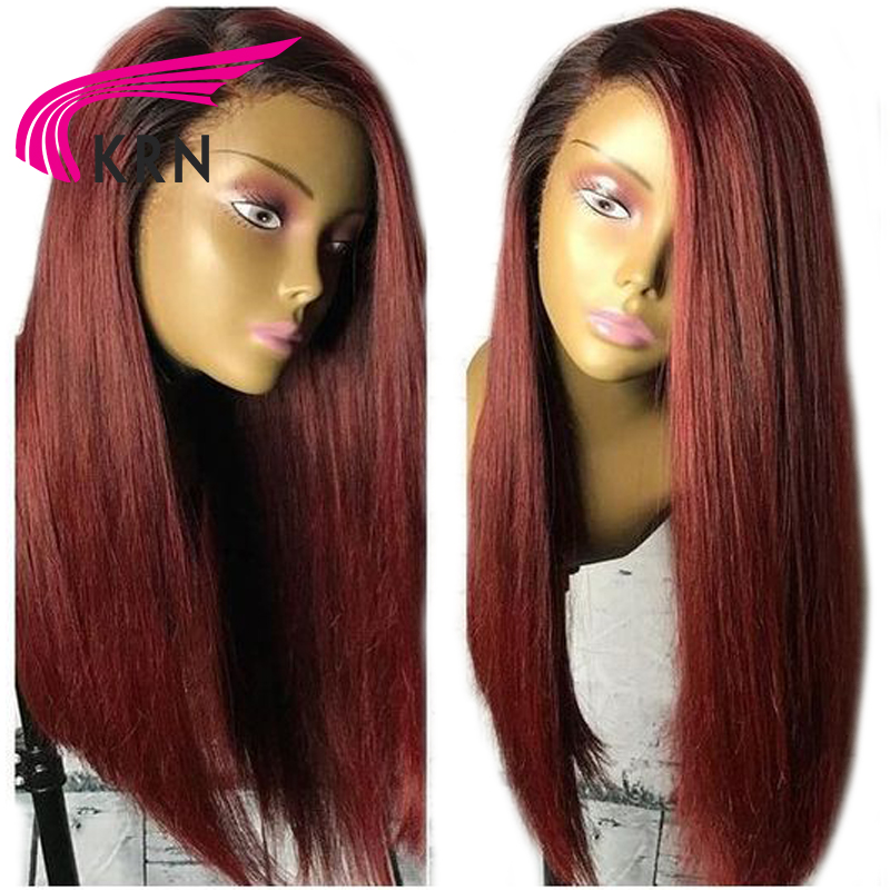 KRN Straight Pre Plucked Lace Front Human Hair Wigs With Baby Hair 1B 99J Ombre Remy