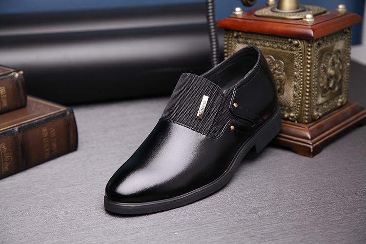 NPEZKGC Men Dress Shoes Slip-on Black Oxford Shoes For Men Flats Leather Fashion Men Shoes Breathable Comfortable Zapatos Hombre 9