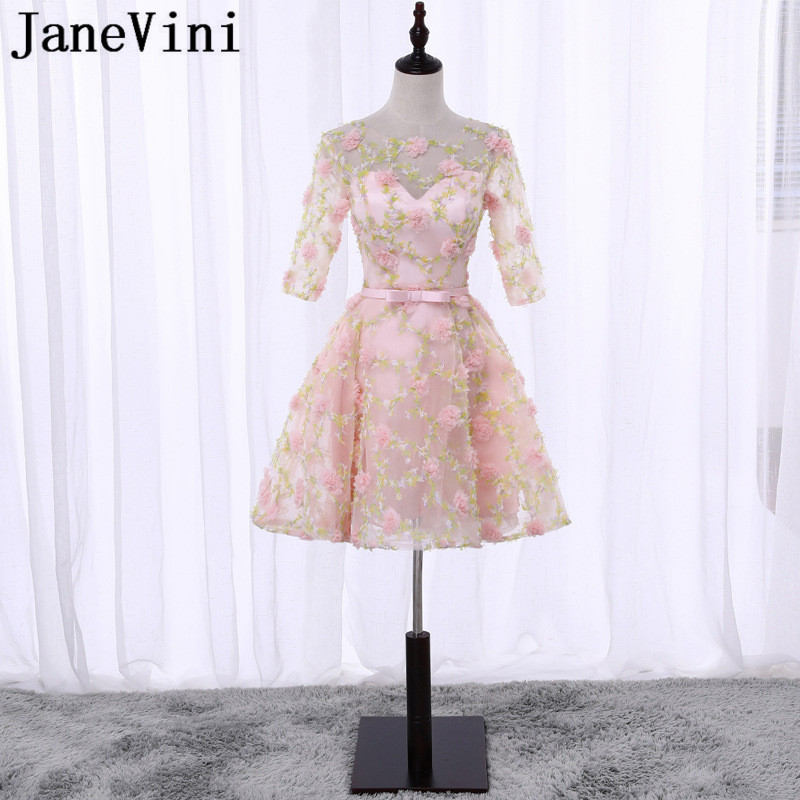 JaneVini Pink Floral Short Bridesmaid Dresses for Girls Teenagers Half Sleeve Knee Length 3D Flowers Wedding Party Dresses Prom