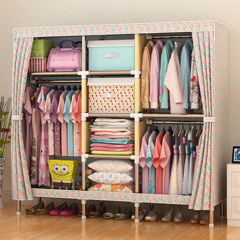 sell well Oxford cloth Wardrobe Large Simple Home Steel Clothes Storage Bold Thicker Steel 25mm Frame