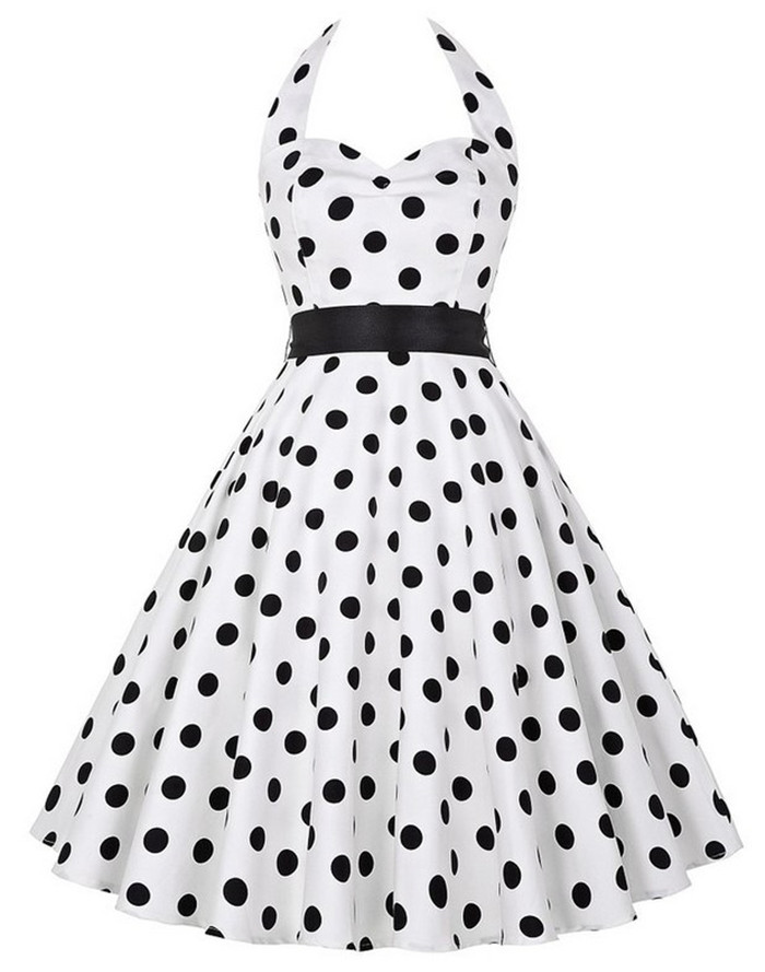 Sexy Retro White Polka Dot Dress 2020 Audrey Hepburn Vintage Halter Dress 50s 60s Gothic Pin Up Rockabilly Dress Plus Size Robe