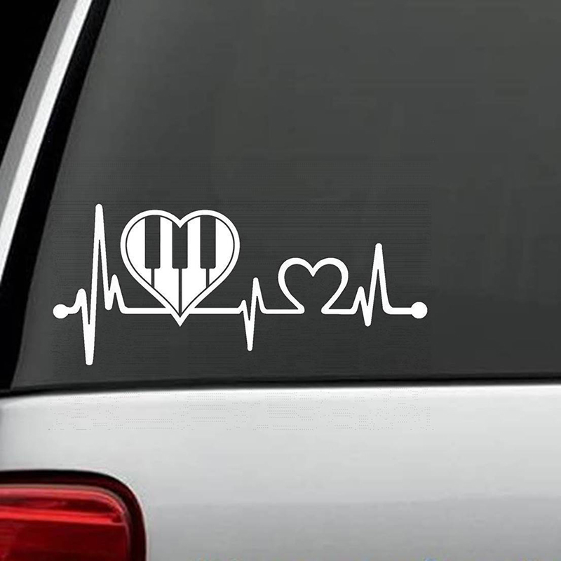 Piano heartbeat decal sticker marching band guitar art painting car stickers vinyl decor decals in car stickers from automobiles motorcycles on