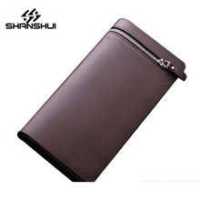 PU Leather Business Wallets For Men Luxury Brand Zipper Hasp Mens Cell Phone Clutch Card Holder