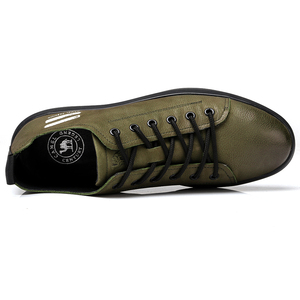 Image 2 - CAMEL Mens Genuine Leather Casual Shoes Classic Fashion Male Lace up Flats Black White Men Flat Heel Daily Comfortable Footwear