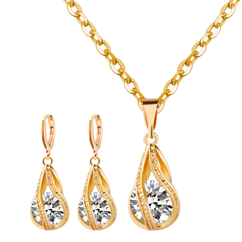 Capable F&u Fashion Special Design Crystal In Zinc Alloy Basket Pendant Necklace With Silver And Golden Chain And Earrings For Party To Be Renowned Both At Home And Abroad For Exquisite Workmanship, Skillful Knitting And Elegant Design