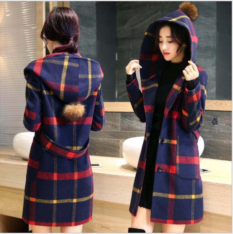 2016 fashion women font b tartan b font clothing long hooded coat girls jacket autumn winter