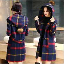 2016 fashion women tartan clothing long hooded coat girls jacket autumn winter overcoat for female fashion