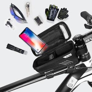 Image 4 - حقيبة دراجة عالمية من ARVIN مزودة بحامل للهاتف المحمول لهاتف iPhone X XR sansing S9 مضادة للمطر ومضادة للماء مع حقيبة أمامية مقاس 6.2 بوصة