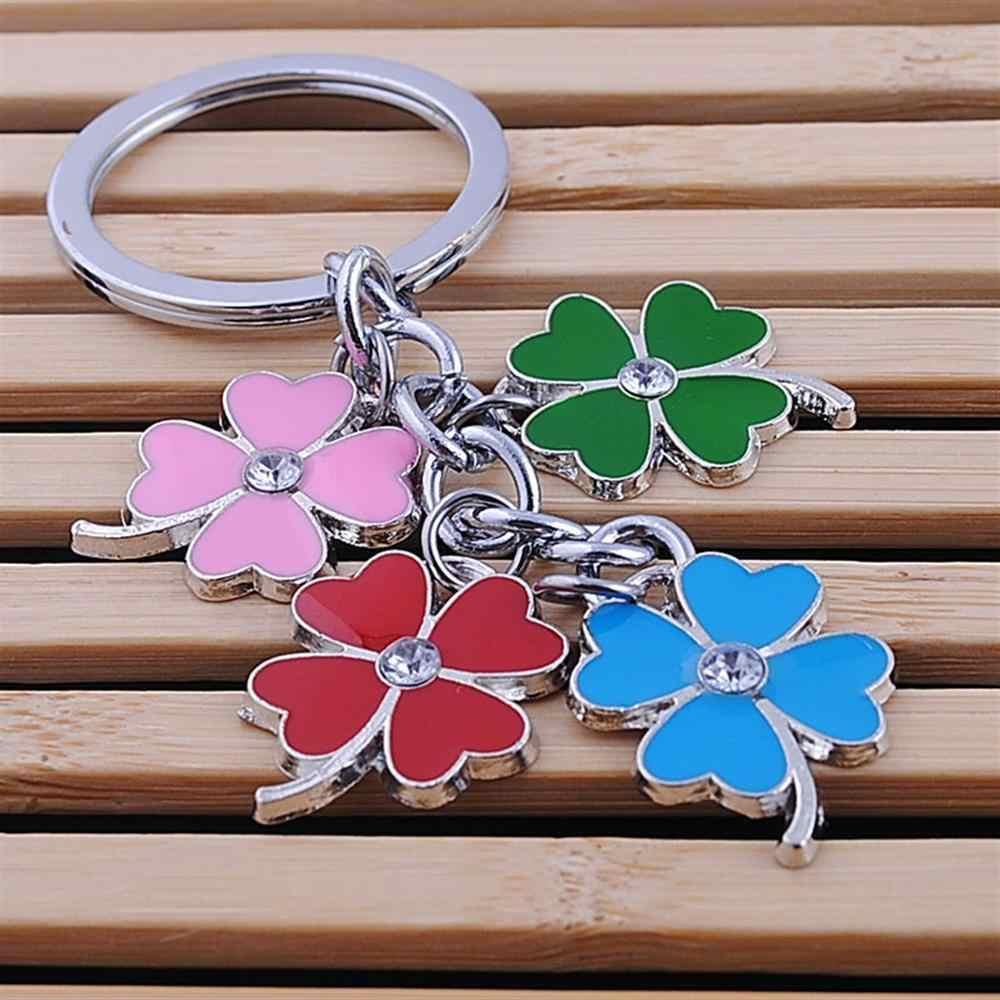 In acciaio inox portachiavi trifoglio di modo quattro foglia di trifoglio portachiavi anello chiave della catena chiave del sacchetto del supporto di fascini del pendente