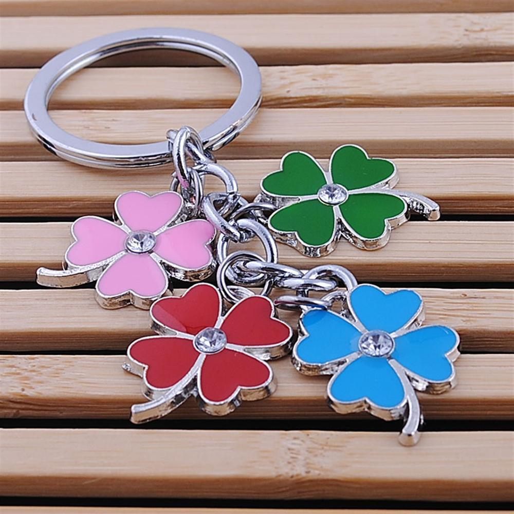stainless steel clover keychain fashion four leaf clover keyring key chain key ring holder bag pendant charms цена